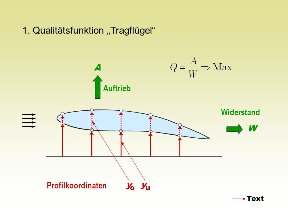 "1. Qualitätsfunktion ""Tragflügel"