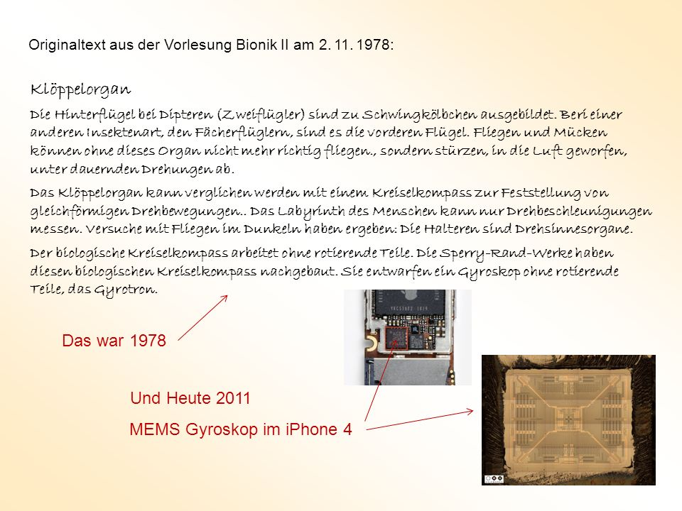 Klöppelorgan Das war 1978 Und Heute 2011 MEMS Gyroskop im iPhone 4