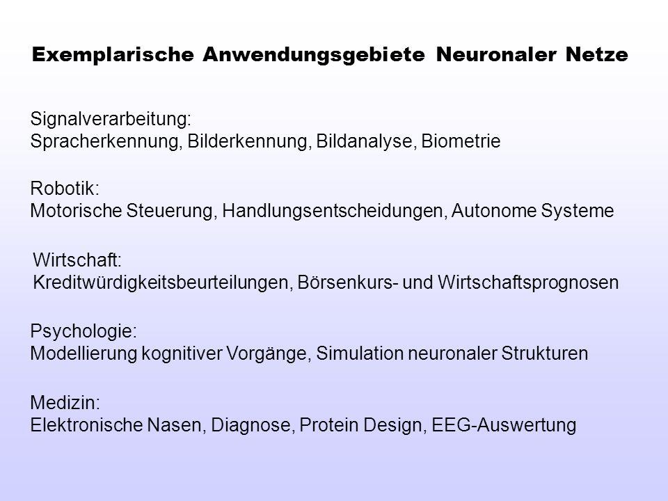 Exemplarische Anwendungsgebiete Neuronaler Netze