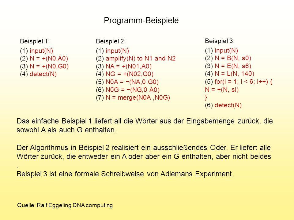 Programm-Beispiele Beispiel 1: (1) input(N) (2) N = +(N0,A0) (3) N = +(N0,G0) (4) detect(N) Beispiel 2: