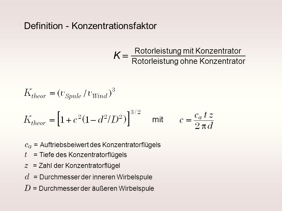 K = Definition - Konzentrationsfaktor mit
