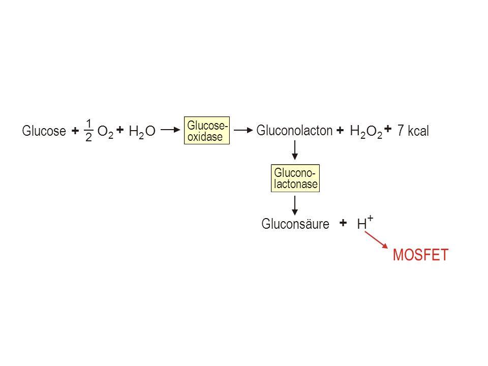 MOSFET Glucose Gluconolacton 7 kcal Gluconsäure O + H Glucose- oxidase