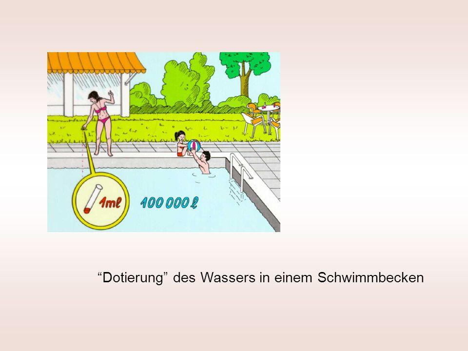 Dotierung des Wassers in einem Schwimmbecken