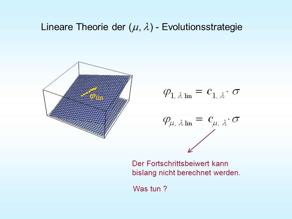 Lineare Theorie der (m , l ) - Evolutionsstrategie
