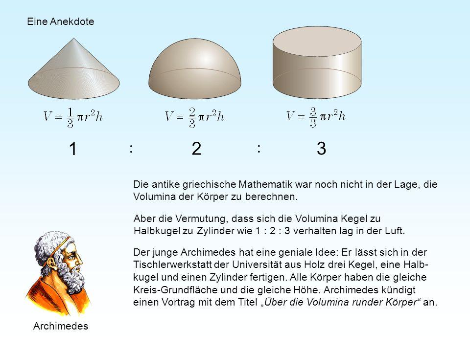 Eine Anekdote1. 2. 3. : Die antike griechische Mathematik war noch nicht in der Lage, die Volumina der Körper zu berechnen.