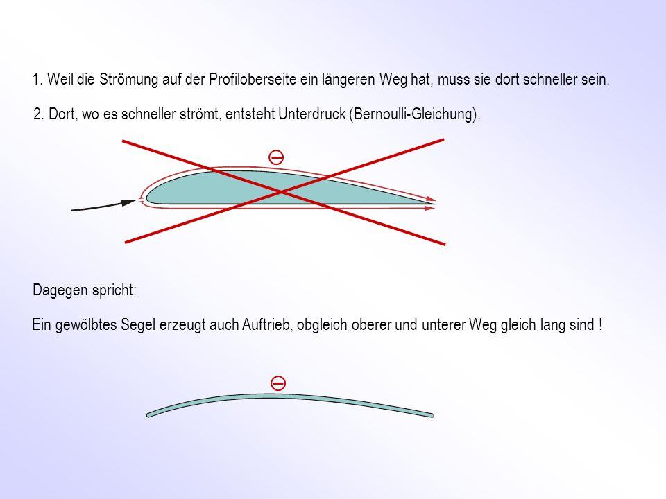 1. Weil die Strömung auf der Profiloberseite ein längeren Weg hat, muss sie dort schneller sein.