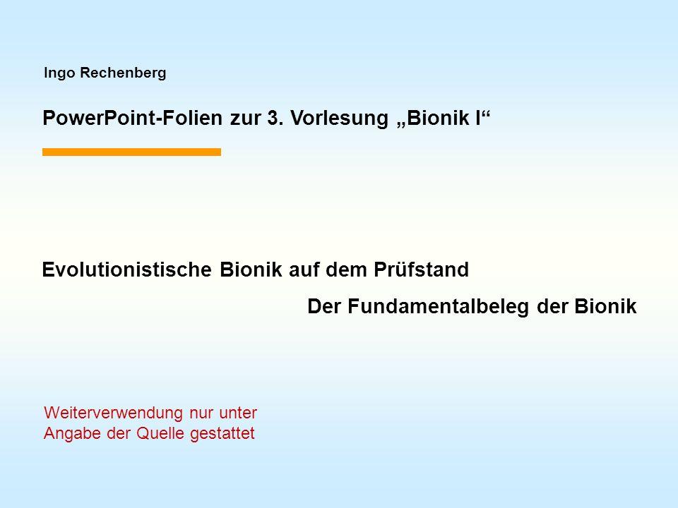 """PowerPoint-Folien zur 3. Vorlesung """"Bionik I"""