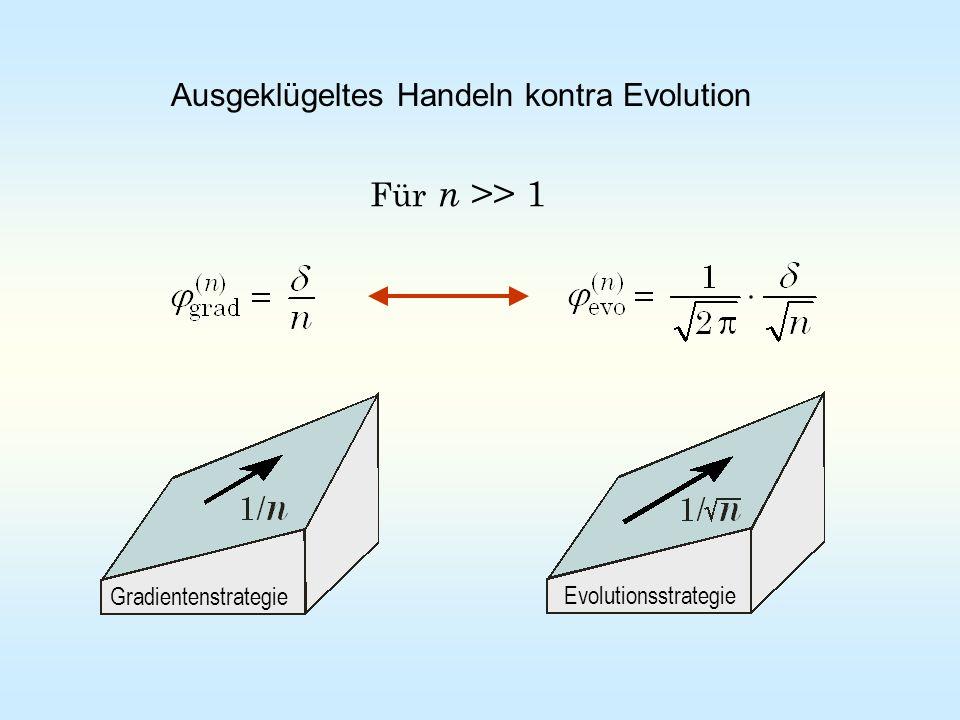 Für n >> 1 Ausgeklügeltes Handeln kontra Evolution