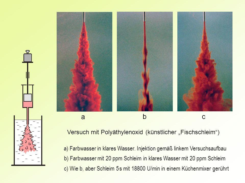 """a b c Versuch mit Polyäthylenoxid (künstlicher """"Fischschleim )"""
