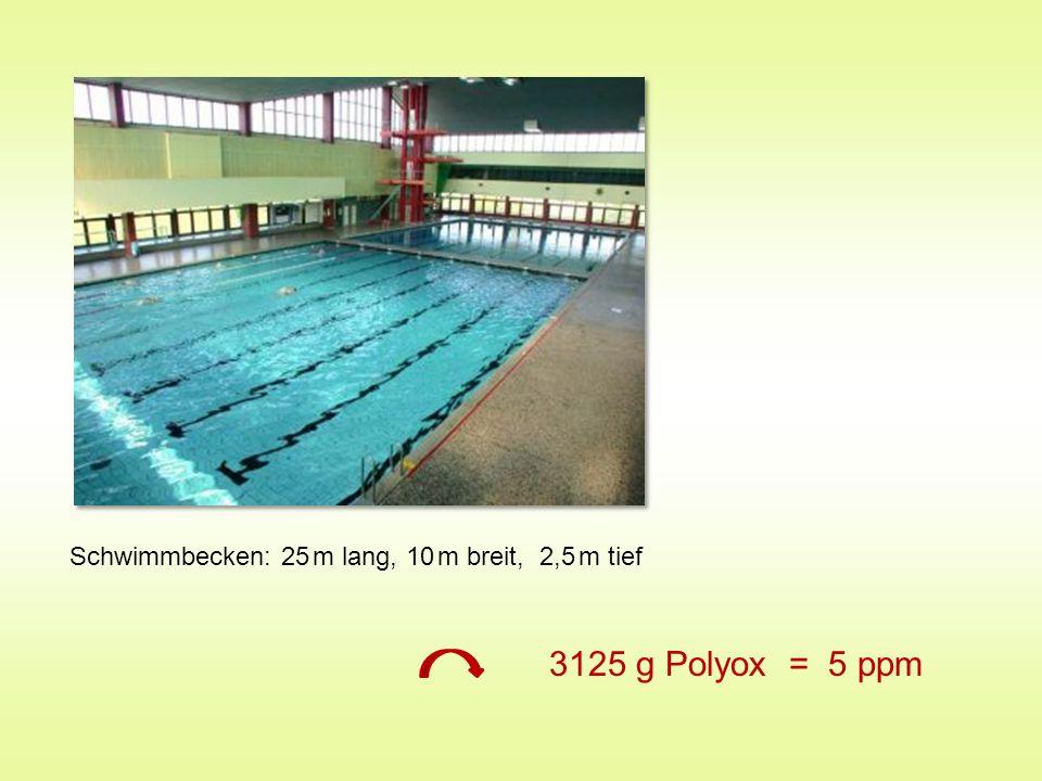 Schwimmbecken: 25 m lang, 10 m breit, 2,5 m tief