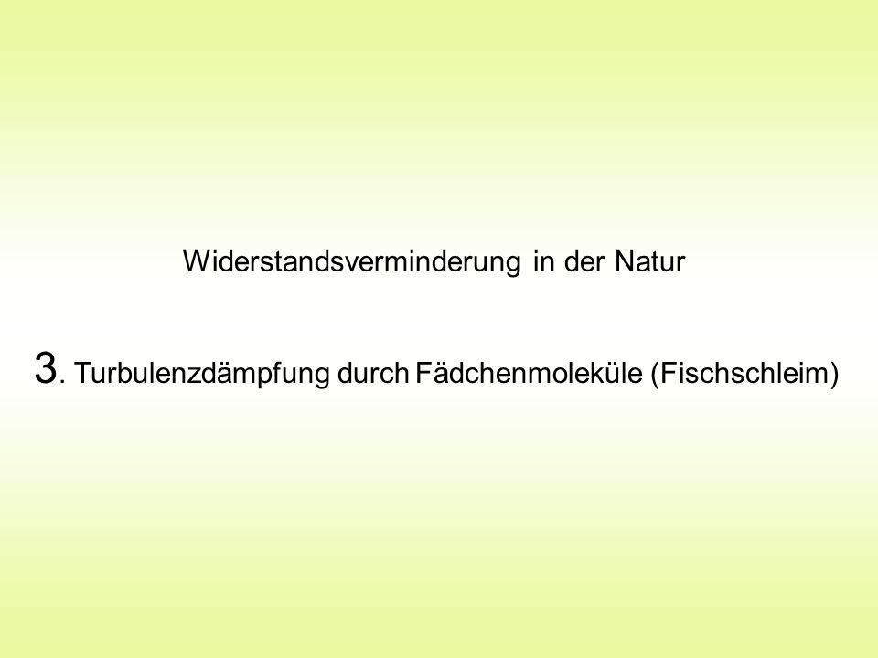 3. Turbulenzdämpfung durch Fädchenmoleküle (Fischschleim)