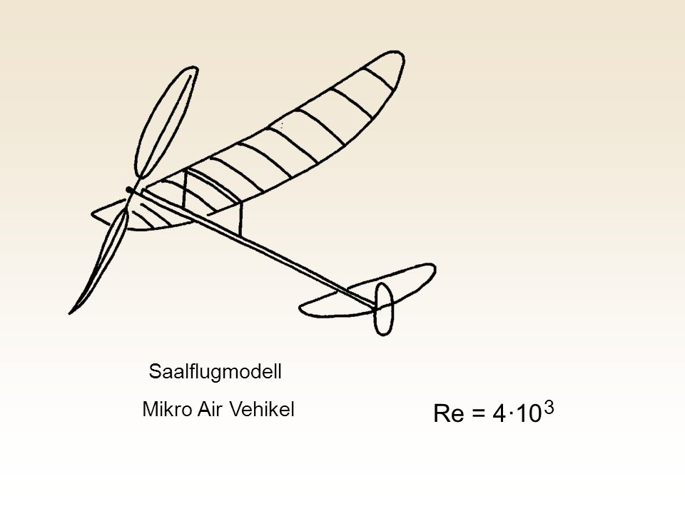 Saalflugmodell Mikro Air Vehikel Re = 4 ·10 3