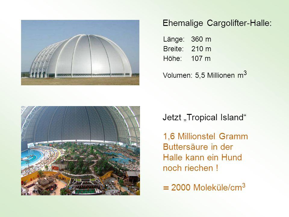  2000 Moleküle/cm3 Ehemalige Cargolifter-Halle:
