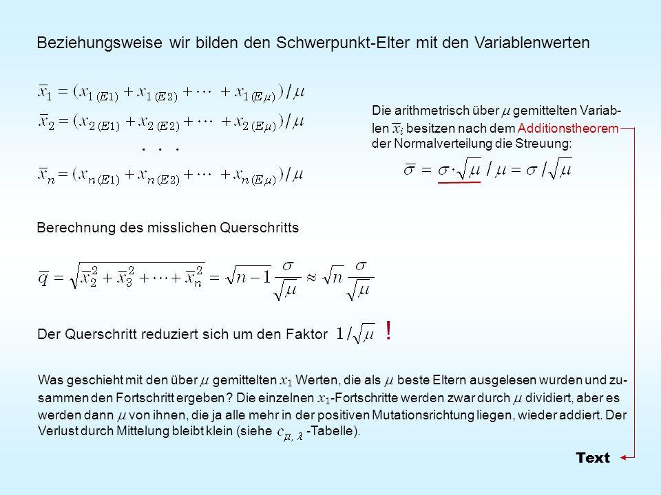 Beziehungsweise wir bilden den Schwerpunkt-Elter mit den Variablenwerten