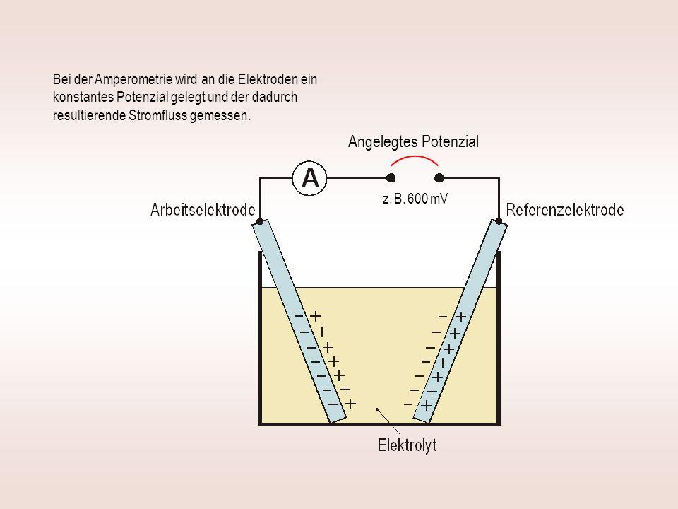 Bei der Amperometrie wird an die Elektroden ein konstantes Potenzial gelegt und der dadurch resultierende Stromfluss gemessen.