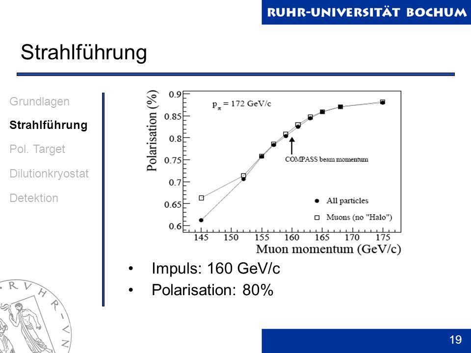 Strahlführung Impuls: 160 GeV/c Polarisation: 80% Grundlagen