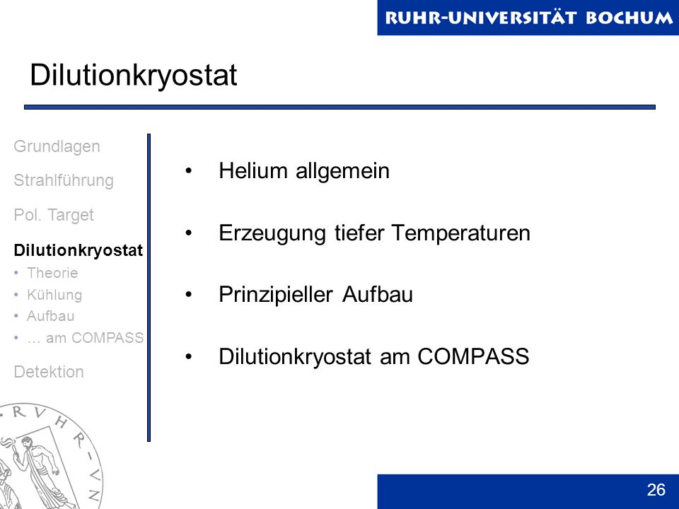 Dilutionkryostat Helium allgemein Erzeugung tiefer Temperaturen