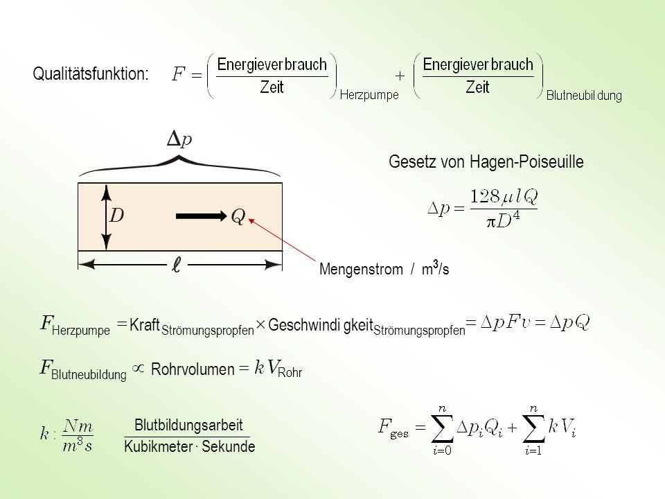p D Q Qualitätsfunktion: Gesetz von Hagen-Poiseuille ´ = F F µ V k =