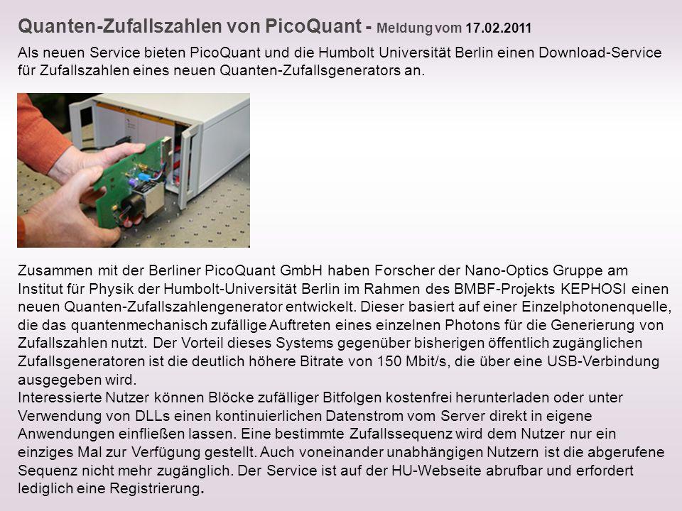 Quanten-Zufallszahlen von PicoQuant - Meldung vom 17.02.2011