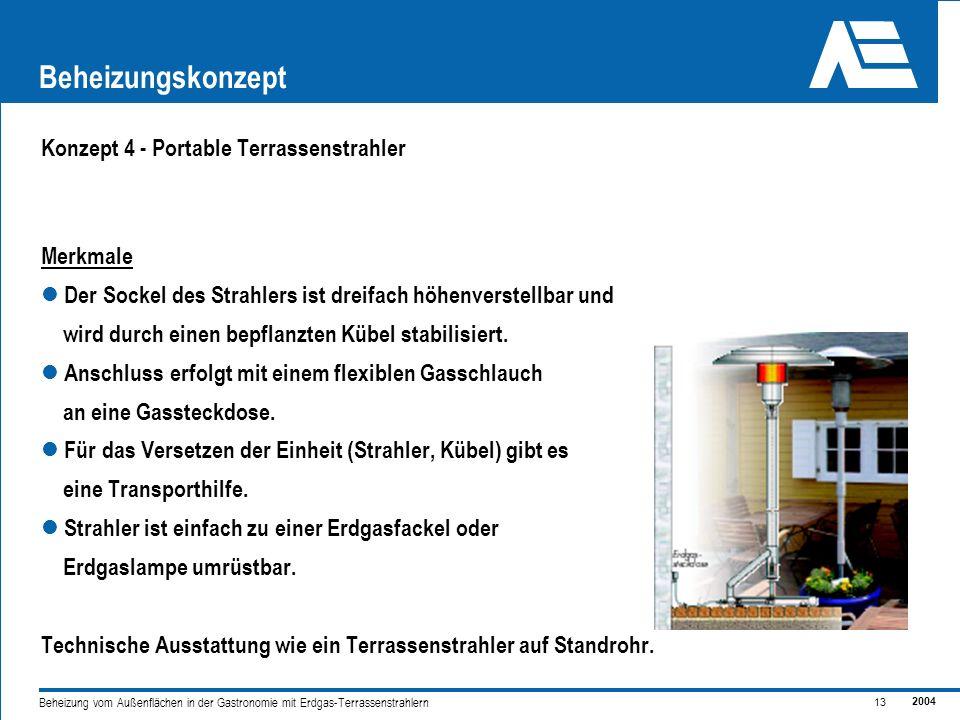 Beheizungskonzept Konzept 4 - Portable Terrassenstrahler Merkmale