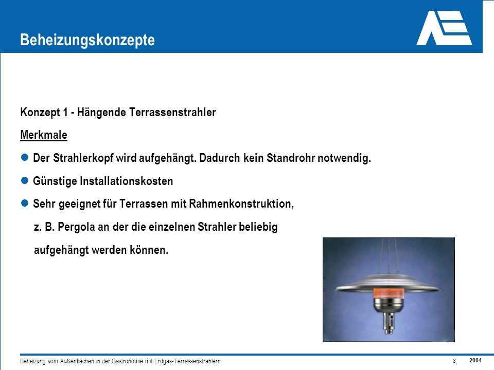 Beheizungskonzepte Konzept 1 - Hängende Terrassenstrahler Merkmale