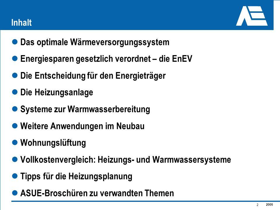Inhalt Das optimale Wärmeversorgungssystem. Energiesparen gesetzlich verordnet – die EnEV. Die Entscheidung für den Energieträger.