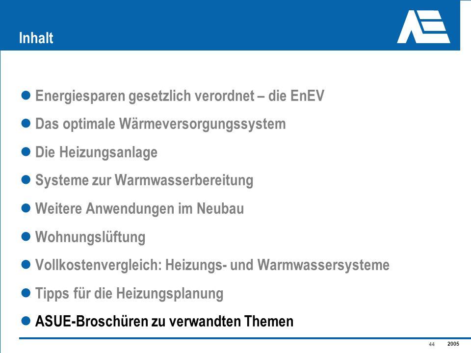 Inhalt Energiesparen gesetzlich verordnet – die EnEV. Das optimale Wärmeversorgungssystem. Die Heizungsanlage.