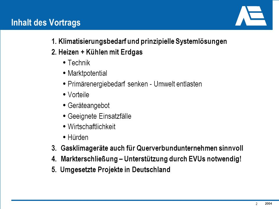 Inhalt des Vortrags1. Klimatisierungsbedarf und prinzipielle Systemlösungen. 2. Heizen + Kühlen mit Erdgas.