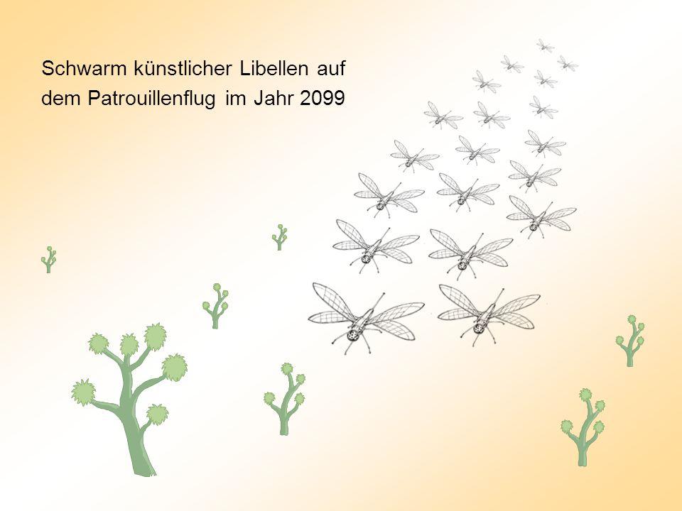 Schwarm künstlicher Libellen auf dem Patrouillenflug im Jahr 2099