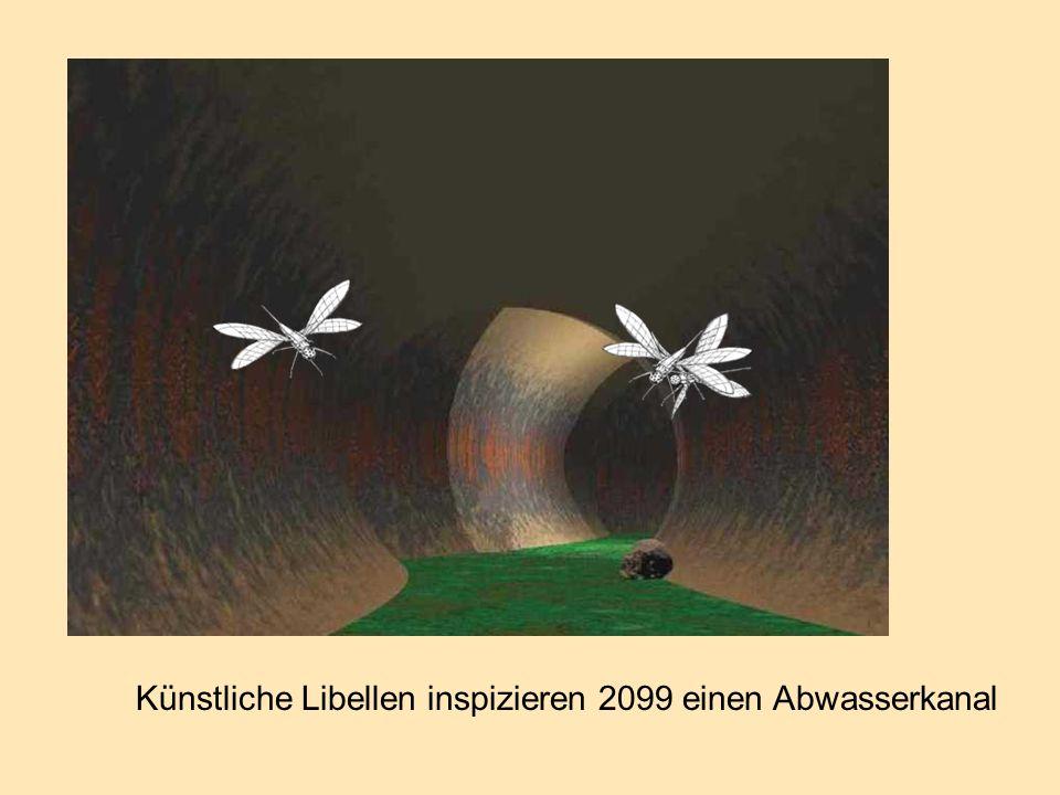 Künstliche Libellen inspizieren 2099 einen Abwasserkanal