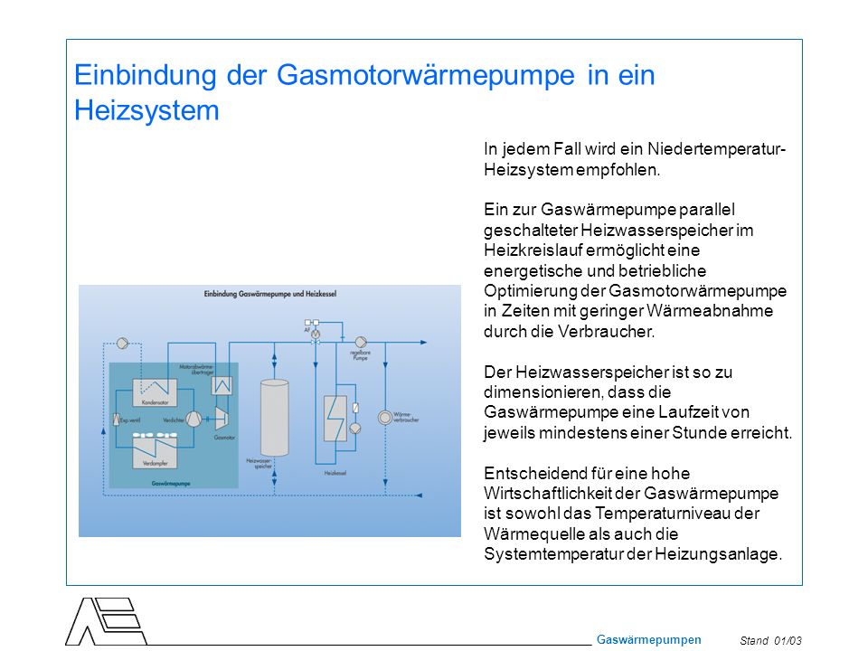 Einbindung der Gasmotorwärmepumpe in ein Heizsystem