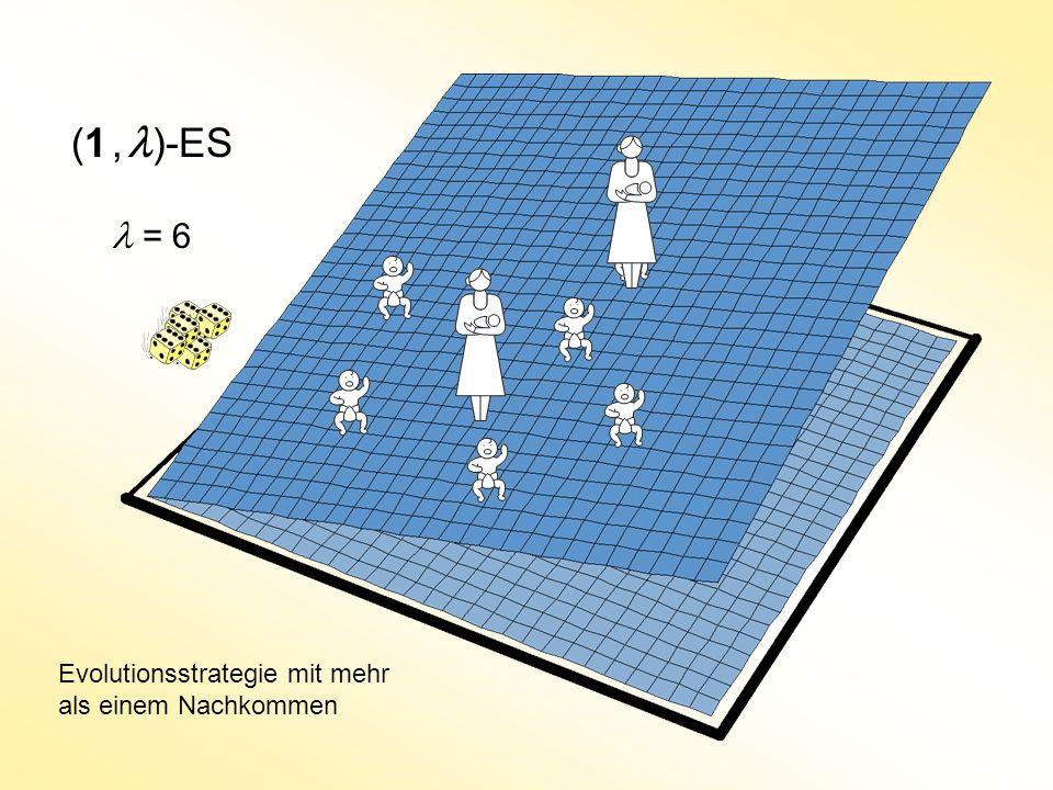 (1 , l)-ES l = 6 Evolutionsstrategie mit mehr als einem Nachkommen