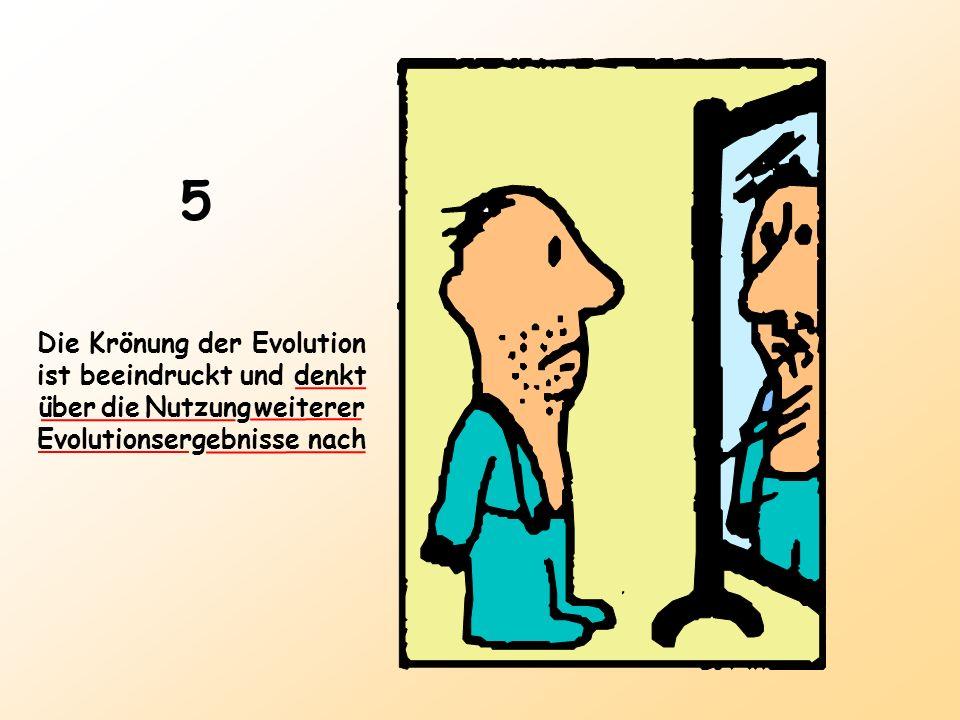 5 Die Krönung der Evolution ist beeindruckt und denkt über die Nutzung weiterer Evolutionsergebnisse nach.
