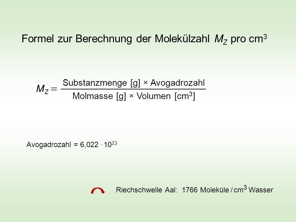 Formel zur Berechnung der Molekülzahl MZ pro cm3