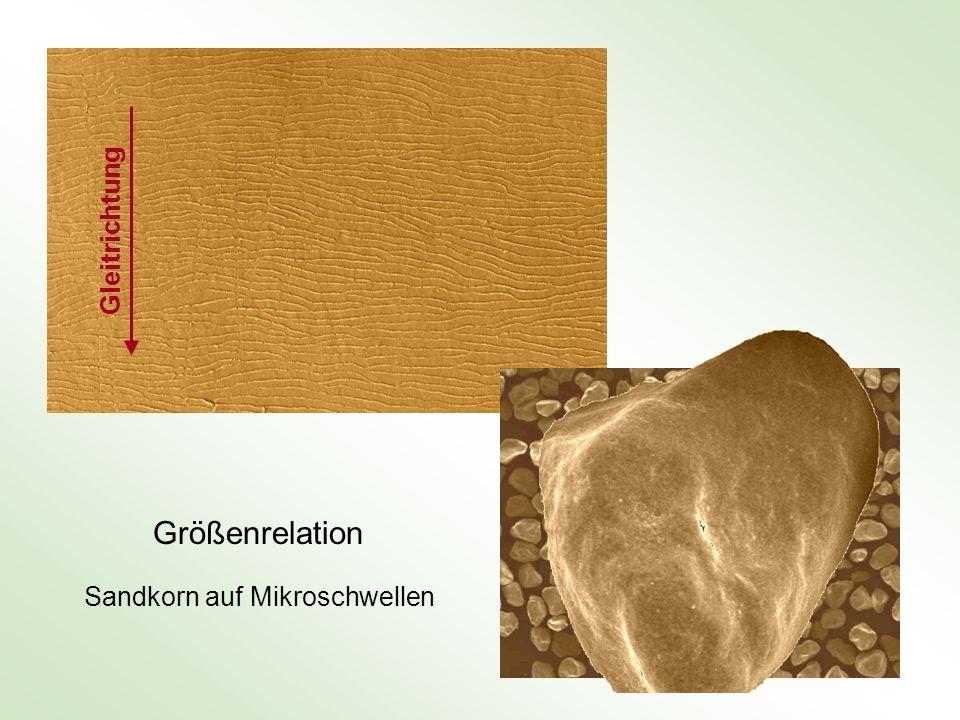 Gleitrichtung Größenrelation Sandkorn auf Mikroschwellen