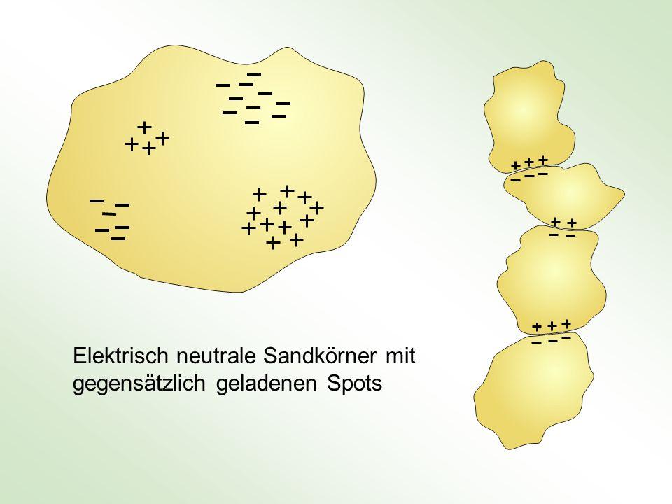 Elektrisch neutrale Sandkörner mit gegensätzlich geladenen Spots