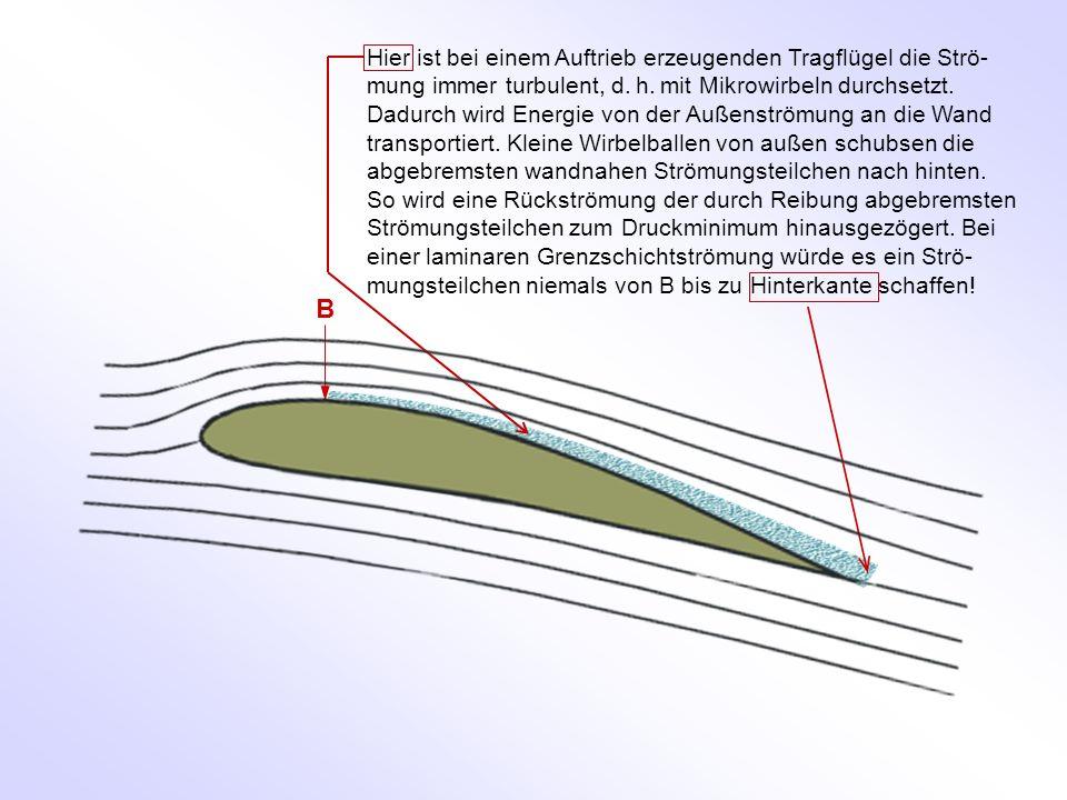 Hier ist bei einem Auftrieb erzeugenden Tragflügel die Strö-mung immer turbulent, d. h. mit Mikrowirbeln durchsetzt. Dadurch wird Energie von der Außenströmung an die Wand transportiert. Kleine Wirbelballen von außen schubsen die abgebremsten wandnahen Strömungsteilchen nach hinten. So wird eine Rückströmung der durch Reibung abgebremsten Strömungsteilchen zum Druckminimum hinausgezögert. Bei einer laminaren Grenzschichtströmung würde es ein Strö-mungsteilchen niemals von B bis zu Hinterkante schaffen!