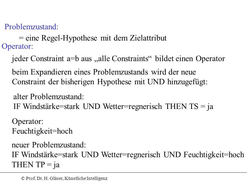 """Problemzustand: = eine Regel-Hypothese mit dem Zielattribut. Operator: jeder Constraint a=b aus """"alle Constraints bildet einen Operator."""