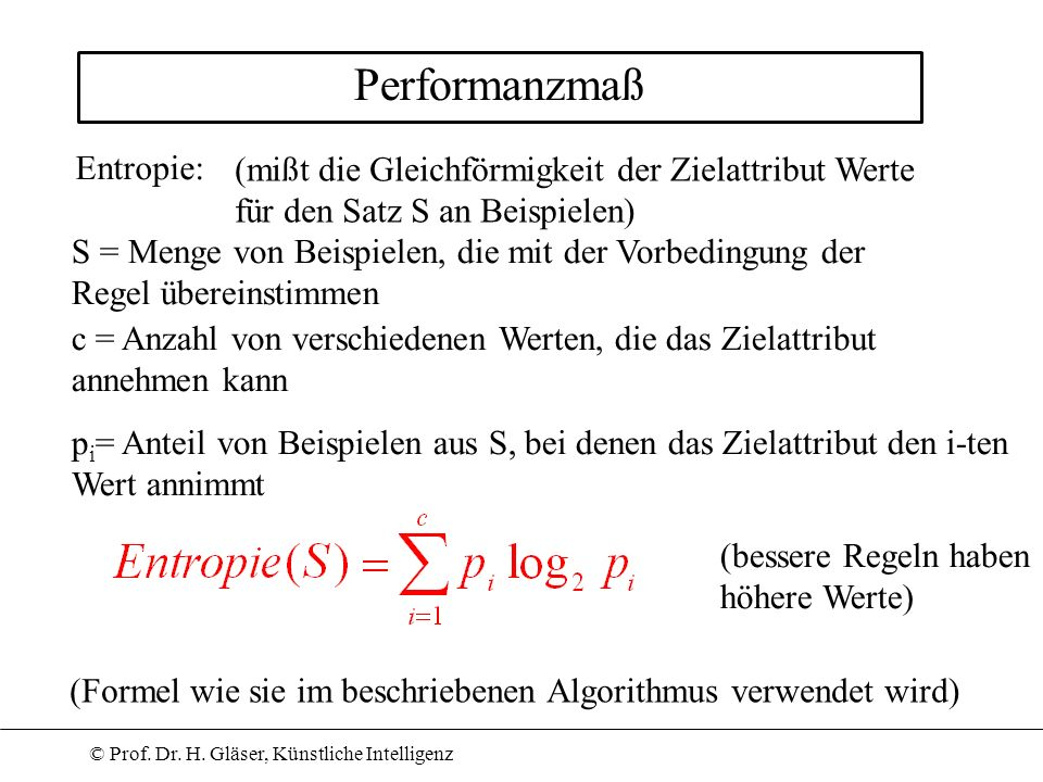 Performanzmaß Entropie: