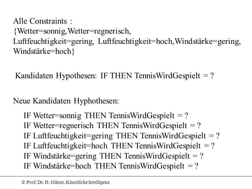 Alle Constraints : {Wetter=sonnig,Wetter=regnerisch, Luftfeuchtigkeit=gering, Luftfeuchtigkeit=hoch,Windstärke=gering,