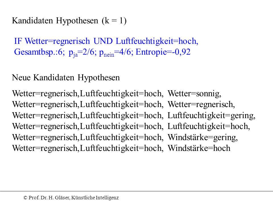 Kandidaten Hypothesen (k = 1)