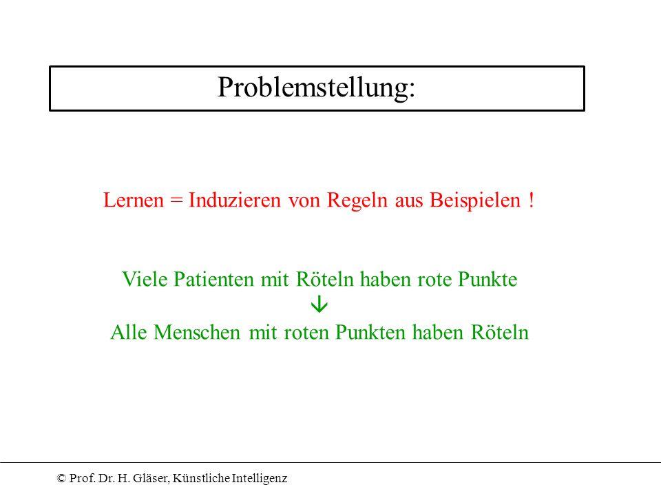 Problemstellung: Lernen = Induzieren von Regeln aus Beispielen !