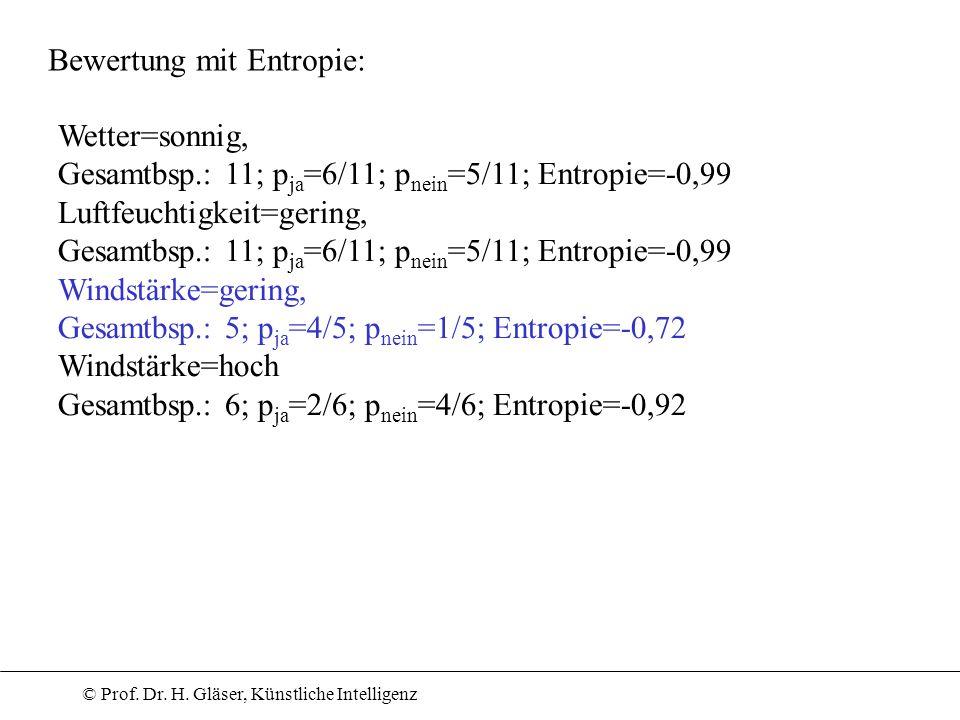 Bewertung mit Entropie: