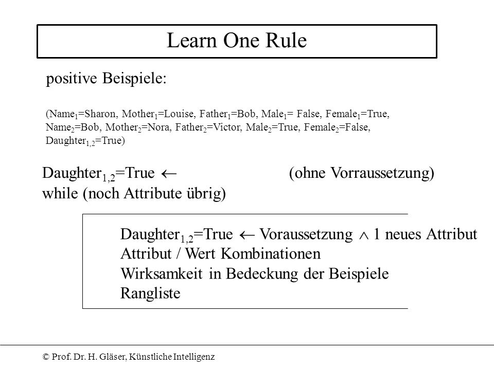 Learn One Rule positive Beispiele: