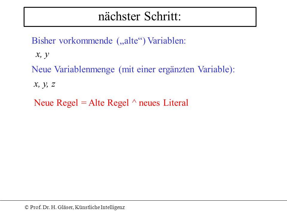 """nächster Schritt: Bisher vorkommende (""""alte ) Variablen: x, y"""