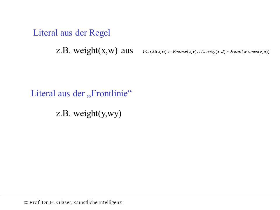 """Literal aus der Regel z.B. weight(x,w) aus Literal aus der """"Frontlinie z.B. weight(y,wy)"""