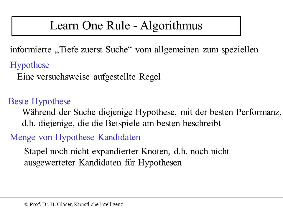 Learn One Rule - Algorithmus