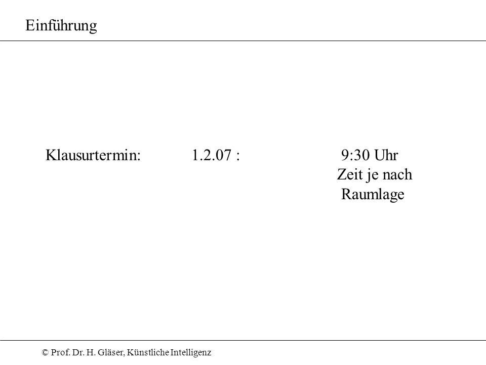 Einführung Klausurtermin: 1.2.07 : 9:30 Uhr Zeit je nach Raumlage
