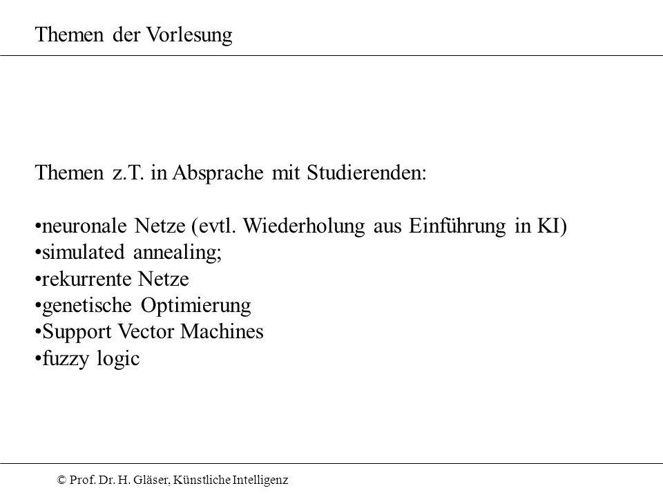Themen der Vorlesung Themen z.T. in Absprache mit Studierenden: neuronale Netze (evtl. Wiederholung aus Einführung in KI)