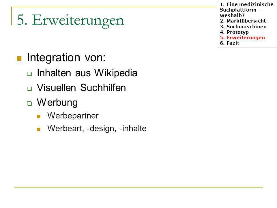 5. Erweiterungen Integration von: Inhalten aus Wikipedia